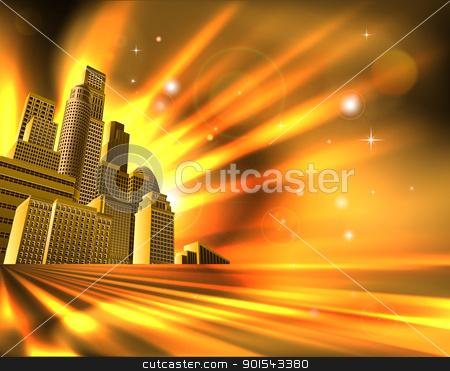 Orange skyscraper background stock vector clipart, Orange and yellow business office block skyscraper illustration by Christos Georghiou