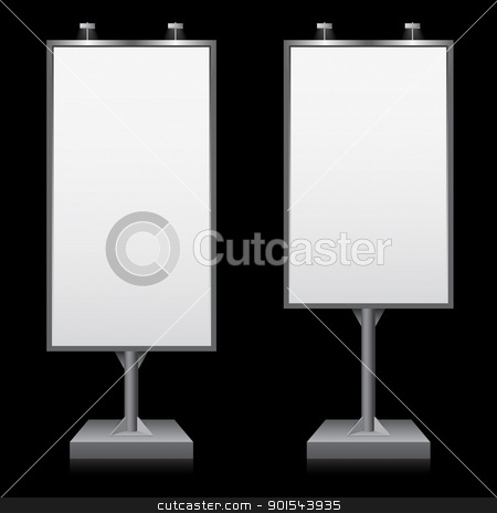Billboard stock photo, Billboards with place for your text. Illustration on black background by dvarg