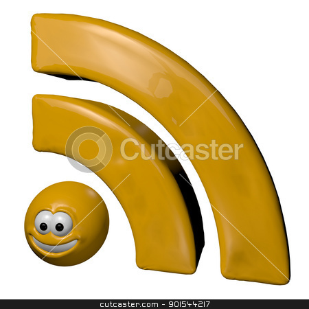 cartoon rss symbol stock photo, cartoon rss symbol - 3d illustration by J?