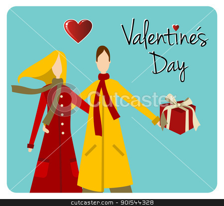 Happy Couple Valentines day greeting card stock vector clipart, Happy valentines day greeting card background: young couple embraced with heart and gift. Vector file available. by Cienpies Design