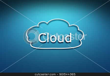 cloud symbol stock photo, A cloud symbol on the blue wall background by Markus Gann