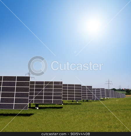 solar plants in the rows stock photo, solar panels to generate electricity by Viktor Thaut