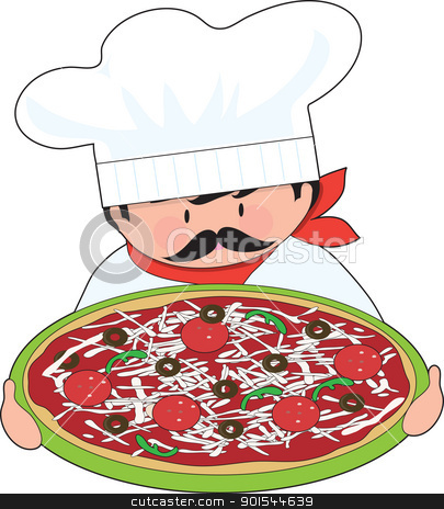 Chef and Pizza stock vector clipart, The chef is holding out his all dressed, fresh pizza. by Maria Bell