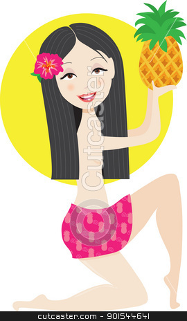 Hawaiian Girl stock vector clipart, A Hawaiian girl in a pink skirt, has a pink hibiscus flower in her hair, and is holding a pineapple. by Maria Bell