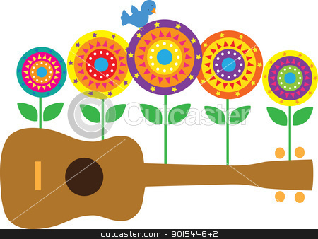Ukulele Flowers stock vector clipart, A horizontal image of a brown ukulele, with stylized flowers and a blue bird springing up from the ukulele. by Maria Bell