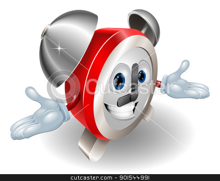 clock character  stock vector clipart, Alarm clock character illustration  by Christos Georghiou