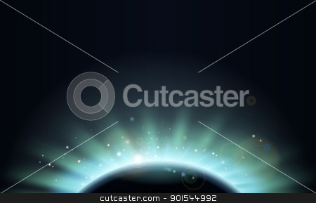 Eclipse sun planet background illustration stock vector clipart, Background of aurora light of the sun rising over a planet in darkness with stars by Christos Georghiou
