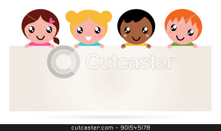 Multicultural kids holding blank banner sign isolated on white stock vector clipart, Multi ethnicity children holding a blank banner. Vector by Jana Guothova