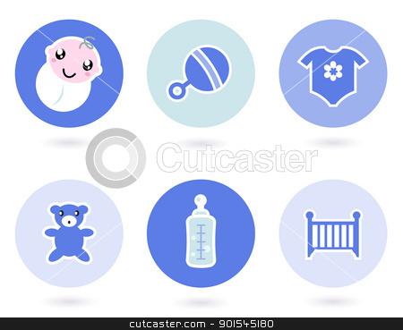 Icons and objects for baby boy isolated on white stock vector clipart, Baby boy blue icons collection. Vector by Jana Guothova