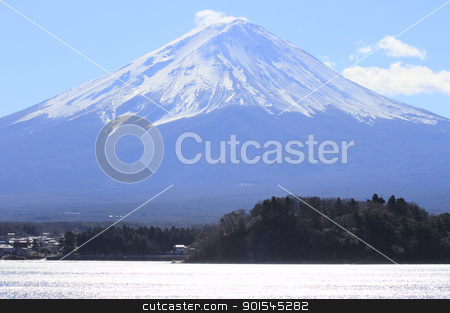 Mt Fuji in winter stock photo, Mt Fuji  and blue sky   in  Yamanashi, Kantou ,japan by yoshiyayo