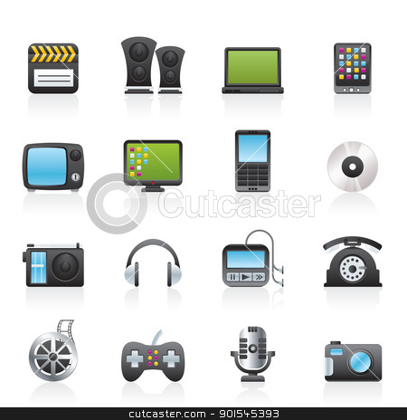 multimedia and technology icons  stock vector clipart, multimedia and technology icons - vector icon set by Stoyan Haytov