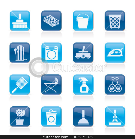 Household objects and tools icons stock vector clipart, Household objects and tools icons - vector icon set by Stoyan Haytov