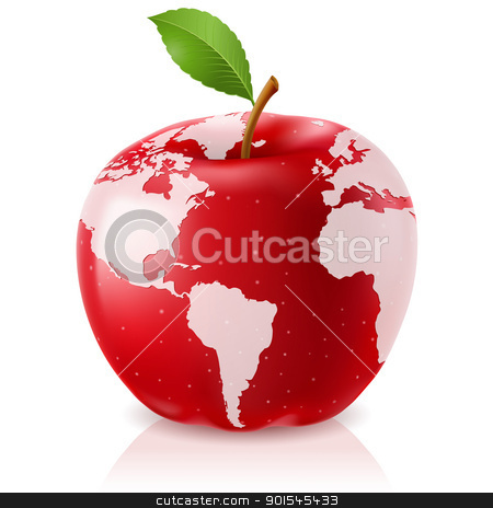 Red Apple World Map stock photo, Vector Red Apple World Map on White Background by dvarg