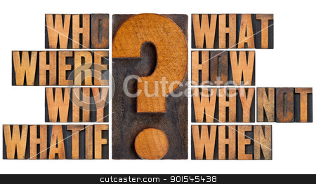 questions in letterpress wood type stock photo, brainstorming or decision making concept - who, what, where, when, why, how, whatif and why not questions - a collage of isolated words in vintage letterpress wood type by Marek Uliasz