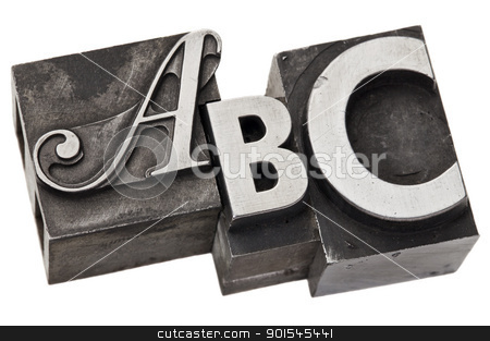 abc - first three alphabet letters stock photo, abc - first three alphabet letters in vintage letterpress metal type, isolated on white by Marek Uliasz