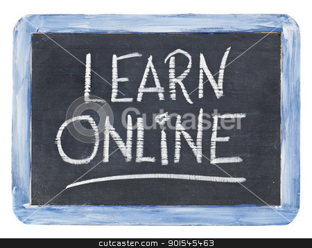 learn online blackboard sign stock photo, learn online sign - white chalk handwriting on a small retro slate blackboard by Marek Uliasz