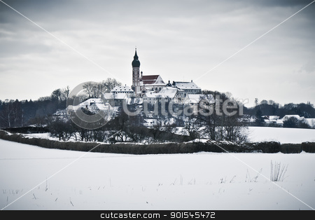 Andechs Monastery in winter scenery stock photo, An image of the Andechs Monastery in winter scenery by Markus Gann
