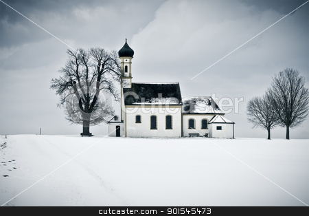 winter scenery church stock photo, A nice winter scenery with a church in Bavaria Germany by Markus Gann