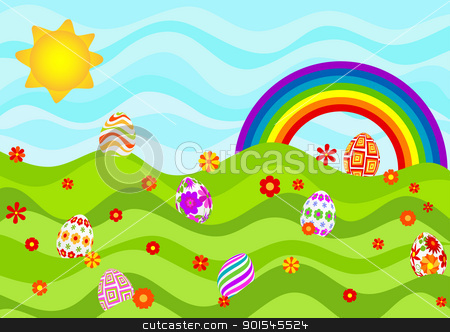 Easter_eggs_on_a_sunny_day stock vector clipart, Easter eggs on a sunny day. by wingedcats