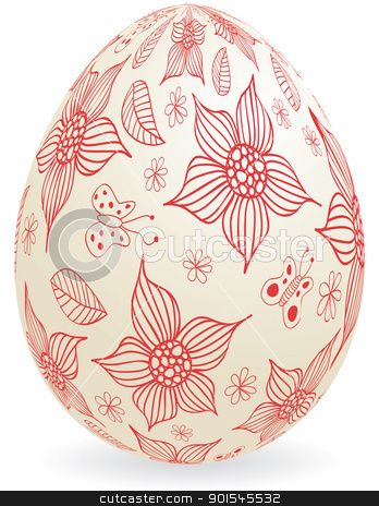 Easter_egg stock vector clipart, Floral easter egg. Global colors. by wingedcats