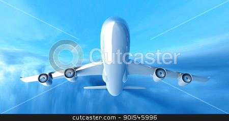 Airplane in the Sky stock photo, 3D rendered Illustration.  by Michael Osterrieder