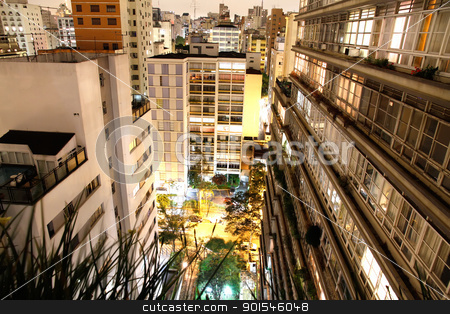 Sao Paulo at night stock photo, Skyline of Higienopolis, Sao Paulo, Brazil. by Michael Osterrieder