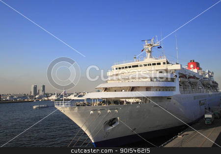 cruise ship at Yokohama Osanbashi Pier  stock photo, cruise ship at Yokohama Osanbashi Pier in Japan by yoshiyayo