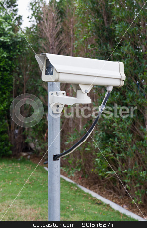CCTV camera stock photo, CCTV camera against in park by stoonn