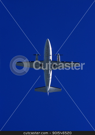 Airplane stock photo, Airplane from low angle view on blue sky by Anne-Louise Quarfoth
