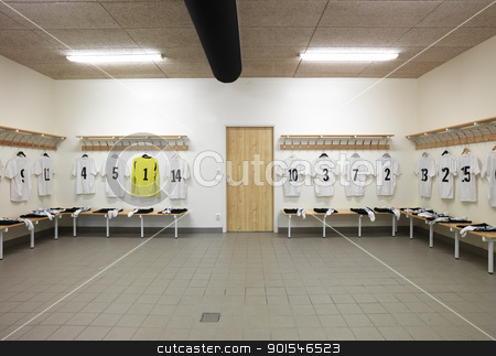 Dressing room stock photo, Soccer teams dressing room with numbered shirts by Anne-Louise Quarfoth