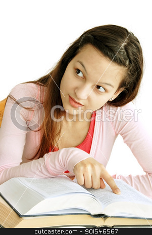 Teenage girl reading a book stock photo, teenage girl portrait with arm on opened book, looking at side by Julija Sapic