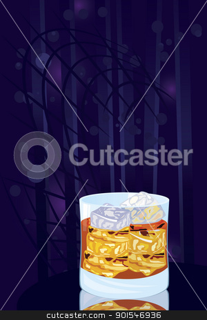 Scotch on rocks stock vector clipart, Vector illustration of scotch on rocks cocktail on night disco background  by Zebra-Finch