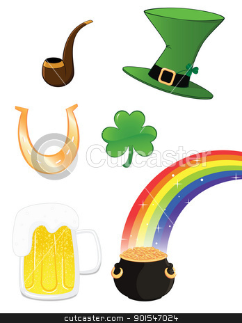 st_patrick_set stock vector clipart, Saint Patrick icon set by wingedcats