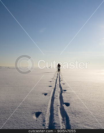 Winter Landscape stock photo, Lonely human in a winter landscape by Anne-Louise Quarfoth
