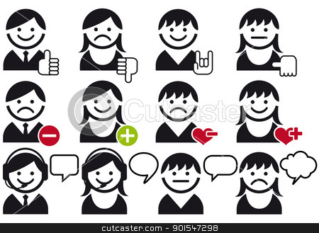 avatar vector icon set stock vector clipart, avatar people faces with symbols, vector icon set by Beata Kraus