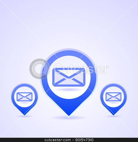 Blue Mail Symbols stock vector clipart, Illustration of blue symbol of Envelope on bright background by Vitezslav Valka