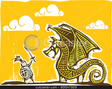 Knight and Dragon 2 stock vector clipart, Knight in armor with sword fights a dragon by Jeffrey Thompson