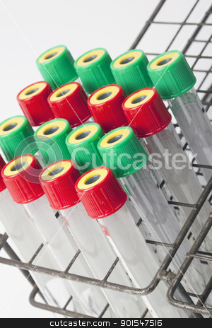 blood tubes stock photo, many test tubes with blood being tested  by Rob Bouwman