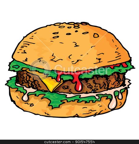 Illustration of a large juicy hamburger stock vector clipart, Illustration of a large juicy hamburger. Isolated by antonbrand