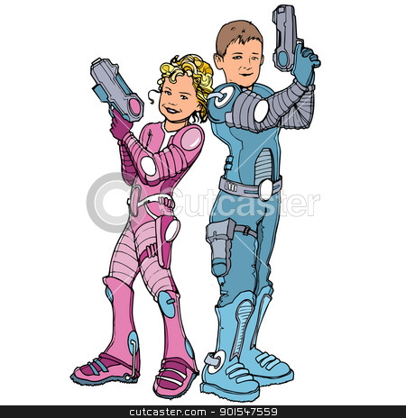 Cartoon of two children dressed in futuristic costumes stock vector clipart, Cartoon of two children dressed in futuristic costumes. Isolated by antonbrand