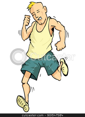 Cartoon of a running man stock vector clipart, Cartoon of a running man. Isolated on white by antonbrand