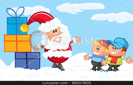 Cartoon Santa with a white beard in the snow stock vector clipart, Cartoon Santa with a white beard in the snow with a gift by antonbrand