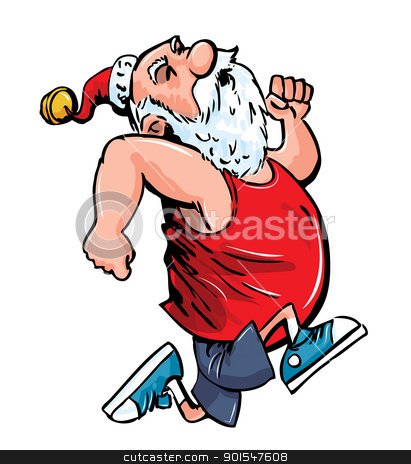 Santa running for exercise  stock vector clipart  Cartoon Santa    Santa Jogging