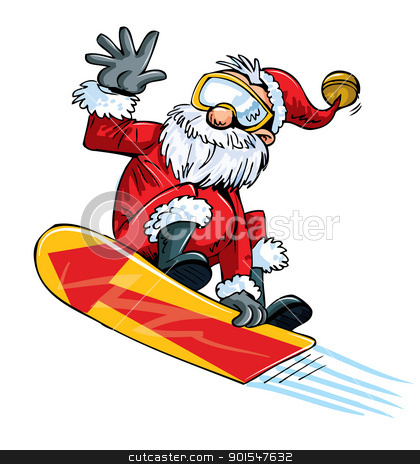 Cartoon Santa doing a jump on a snowboard stock vector clipart, Cartoon Santa doing a jump on a snowboard. Isolated by antonbrand