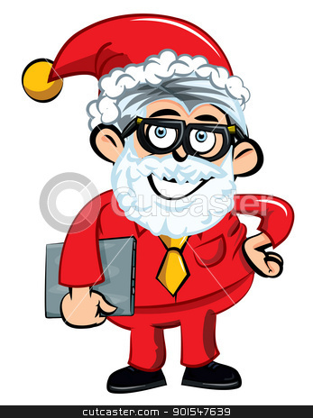 Cartoon Santa office worker stock vector clipart, Cartoon Santa office worker. Isolated on white by antonbrand