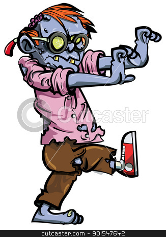 Cartoon zombie nerd with glasses stock vector clipart, Cartoon zombie nerd with glasses. Isolated on white by antonbrand