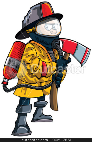 Cartoon fireman in a mask with an axe stock vector clipart, Cartoon fireman in a mask with an axe. Isolated on white by antonbrand