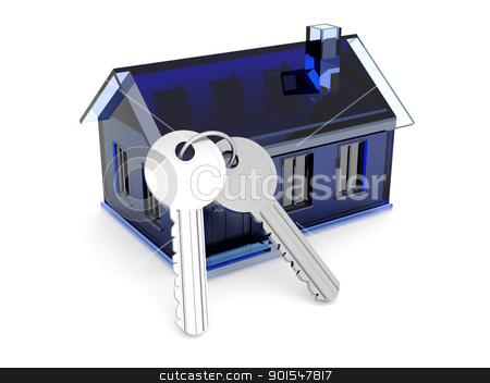 House and Keys stock photo, 3D rendered Illustration. A clear plastic toy house. by Michael Osterrieder