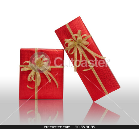 Red gift box over white background stock photo, Red gift box over white background by pixs4u