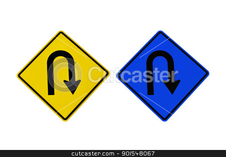U-Turn symbol isolated stock photo, U-Turn symbol isolated for transport on the road by sweetcrisis